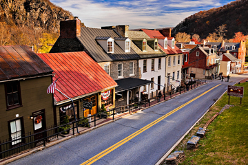 historic buildings on High Street, Harpers Ferry, West Virginia