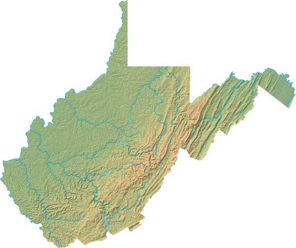 West Virginia relief map